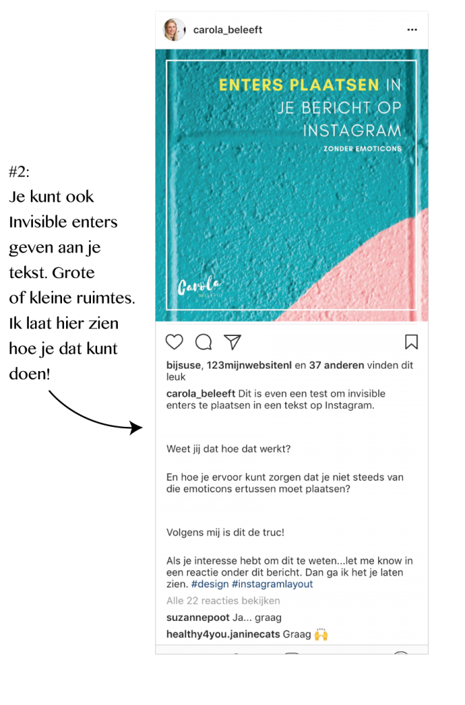 Instagram enters geven aan tekst